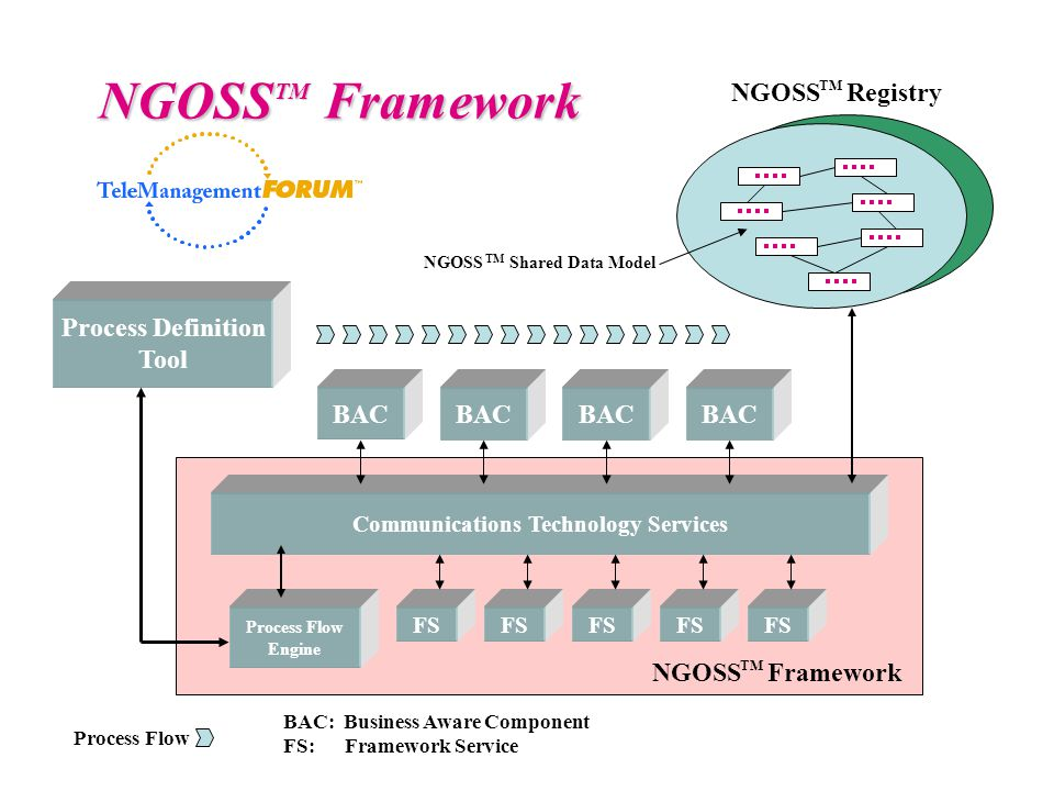 Communications Technology Services Process Flow Engine FS BAC Process Definition Tool Process Flow BAC: Business Aware Component FS: Framework Service NGOSS Framework TM NGOSS Framework TM NGOSS Registry TM NGOSS Shared Data Model TM
