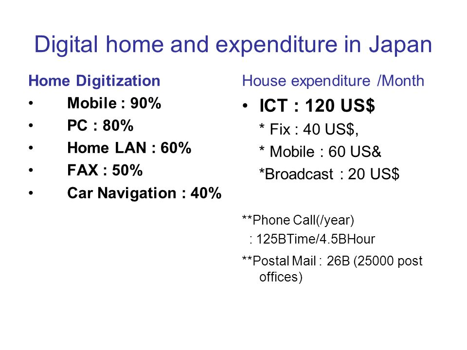 Digital home and expenditure in Japan Home Digitization Mobile : 90% PC : 80% Home LAN : 60% FAX : 50% Car Navigation : 40% House expenditure /Month ICT : 120 US$ * Fix : 40 US$, * Mobile : 60 US& *Broadcast : 20 US$ **Phone Call(/year) : 125BTime/4.5BHour **Postal Mail : 26B (25000 post offices)