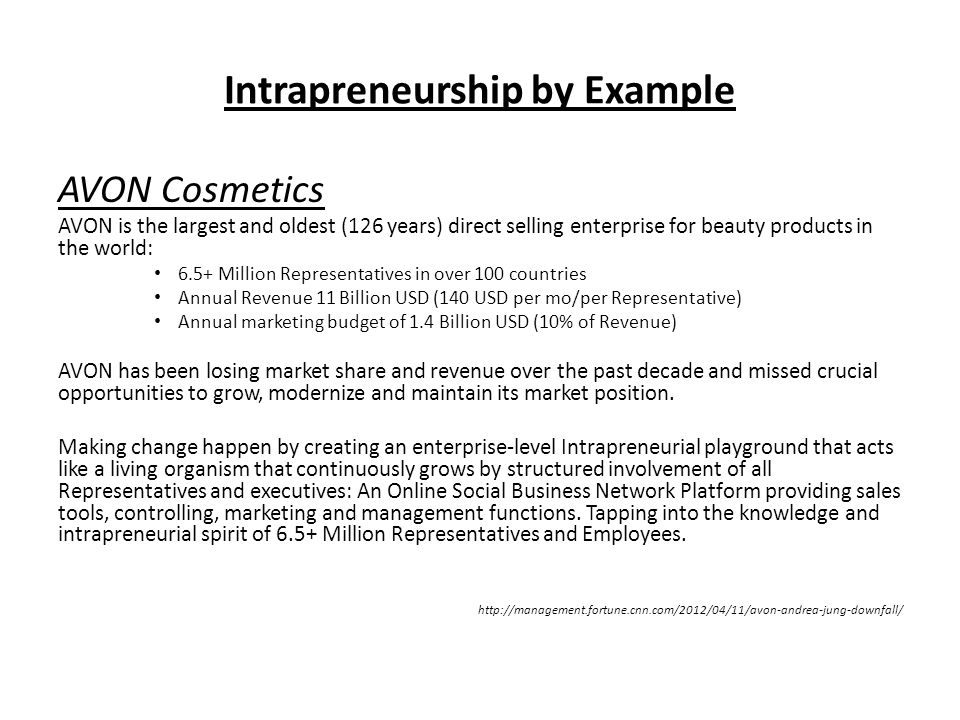 Intrapreneurship by Example AVON Cosmetics AVON is the largest and oldest (126 years) direct selling enterprise for beauty products in the world: 6.5+ Million Representatives in over 100 countries Annual Revenue 11 Billion USD (140 USD per mo/per Representative) Annual marketing budget of 1.4 Billion USD (10% of Revenue) AVON has been losing market share and revenue over the past decade and missed crucial opportunities to grow, modernize and maintain its market position.