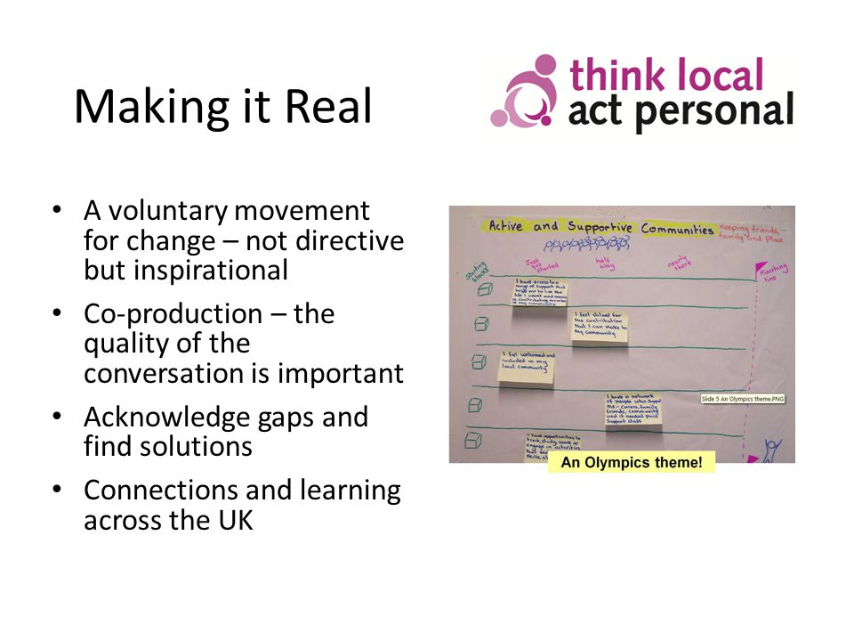 Making it Real A voluntary movement for change – not directive but inspirational Co-production – the quality of the conversation is important Acknowledge gaps and find solutions Connections and learning across the UK