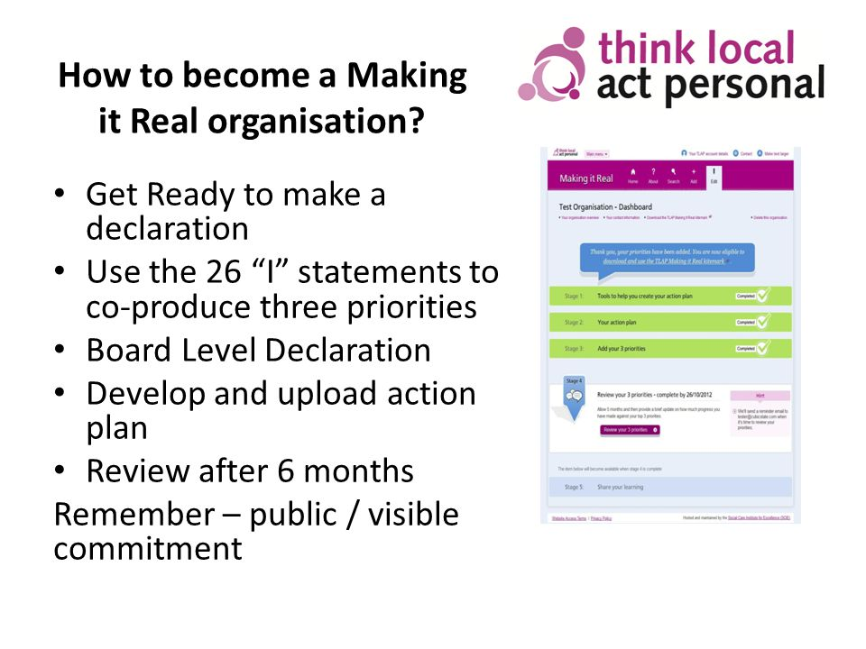 How to become a Making it Real organisation.