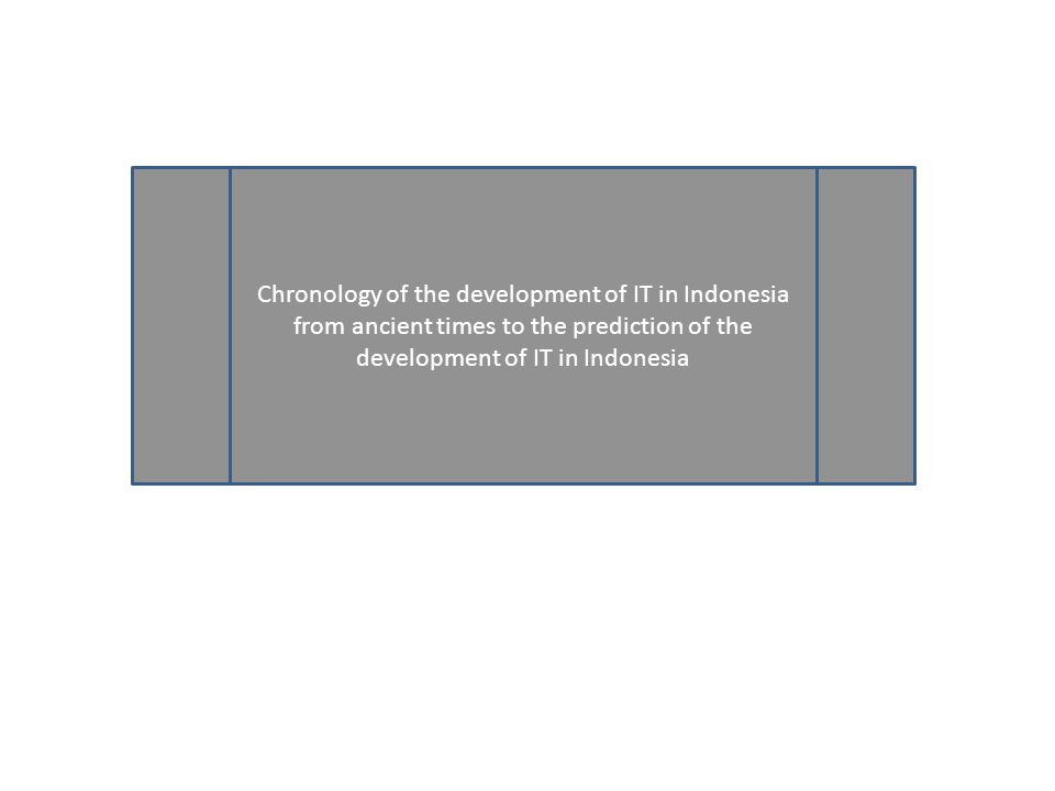 Chronology of the development of IT in Indonesia from ancient times to the prediction of the development of IT in Indonesia
