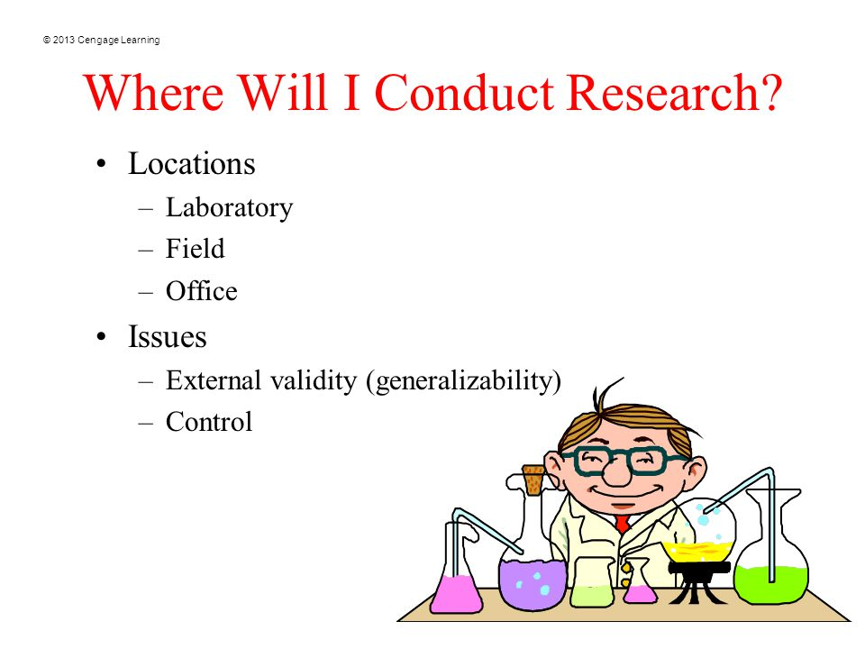 © 2013 Cengage Learning 19 Where Will I Conduct Research.