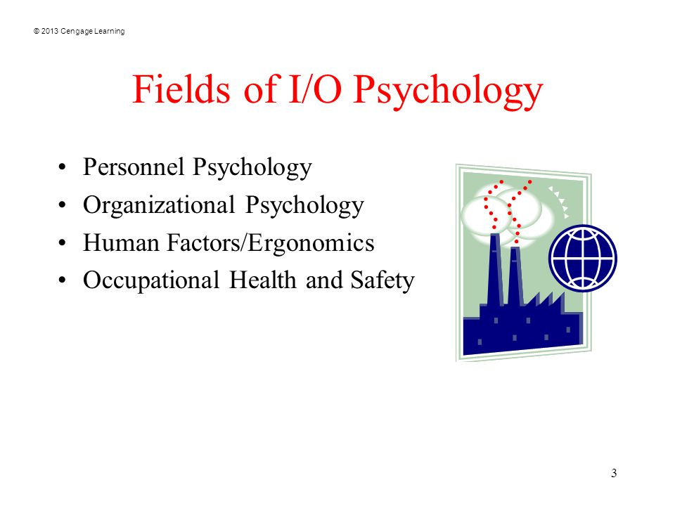 © 2013 Cengage Learning 3 Fields of I/O Psychology Personnel Psychology Organizational Psychology Human Factors/Ergonomics Occupational Health and Safety