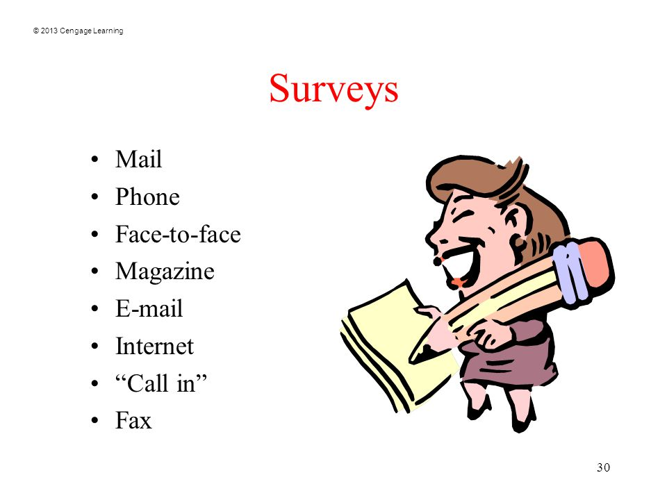 © 2013 Cengage Learning 30 Surveys Mail Phone Face-to-face Magazine E-mail Internet Call in Fax