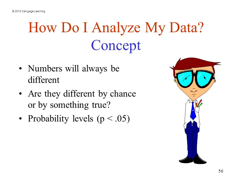 © 2013 Cengage Learning 56 How Do I Analyze My Data.