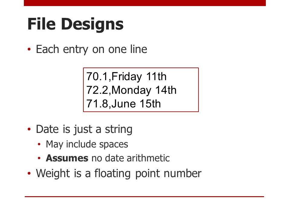 File Designs Each entry on one line Date is just a string May include spaces Assumes no date arithmetic Weight is a floating point number 70.1,Friday 11th 72.2,Monday 14th 71.8,June 15th