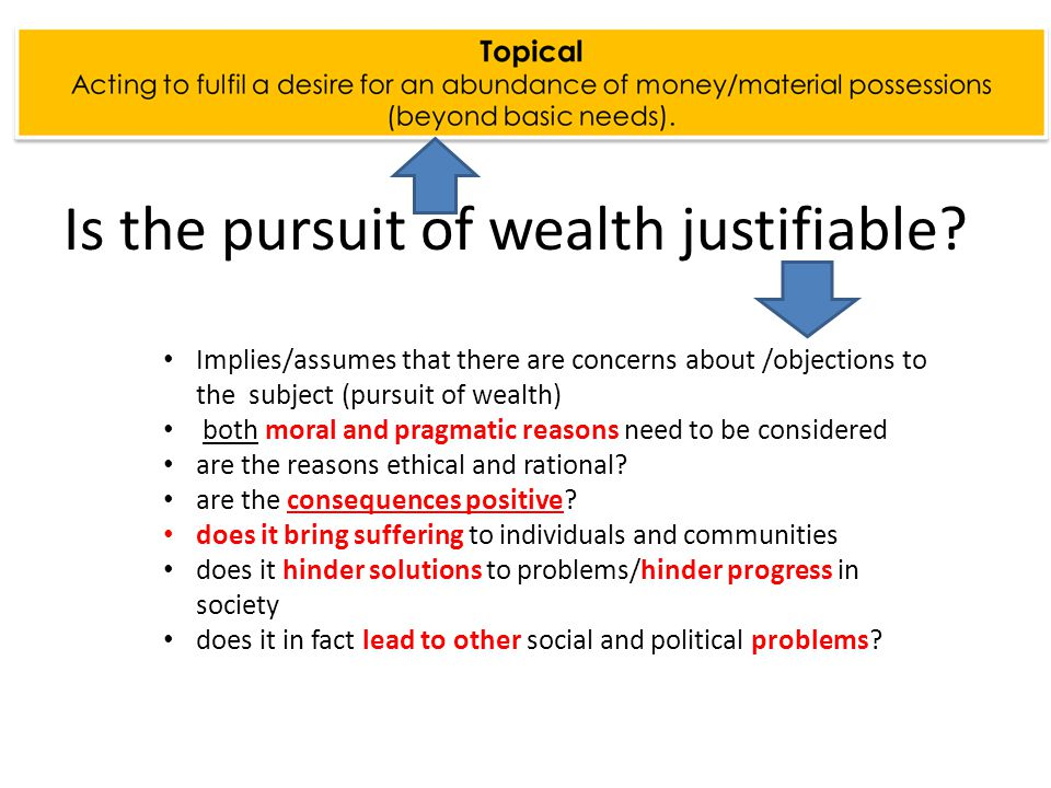 Implies/assumes that there are concerns about /objections to the subject (pursuit of wealth) both moral and pragmatic reasons need to be considered are the reasons ethical and rational.
