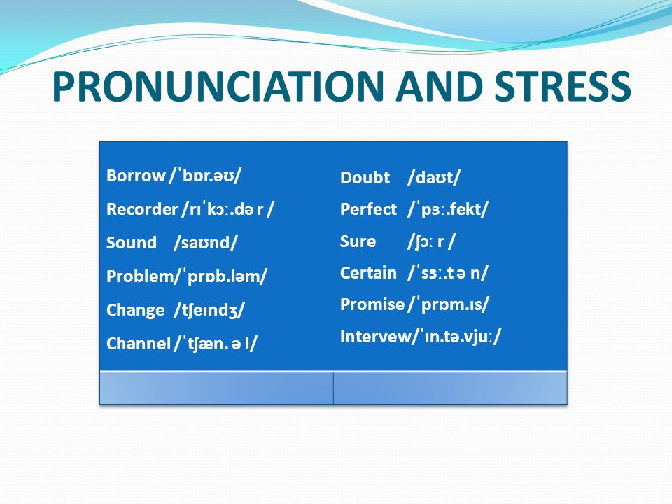 PRONUNCIATION AND STRESS