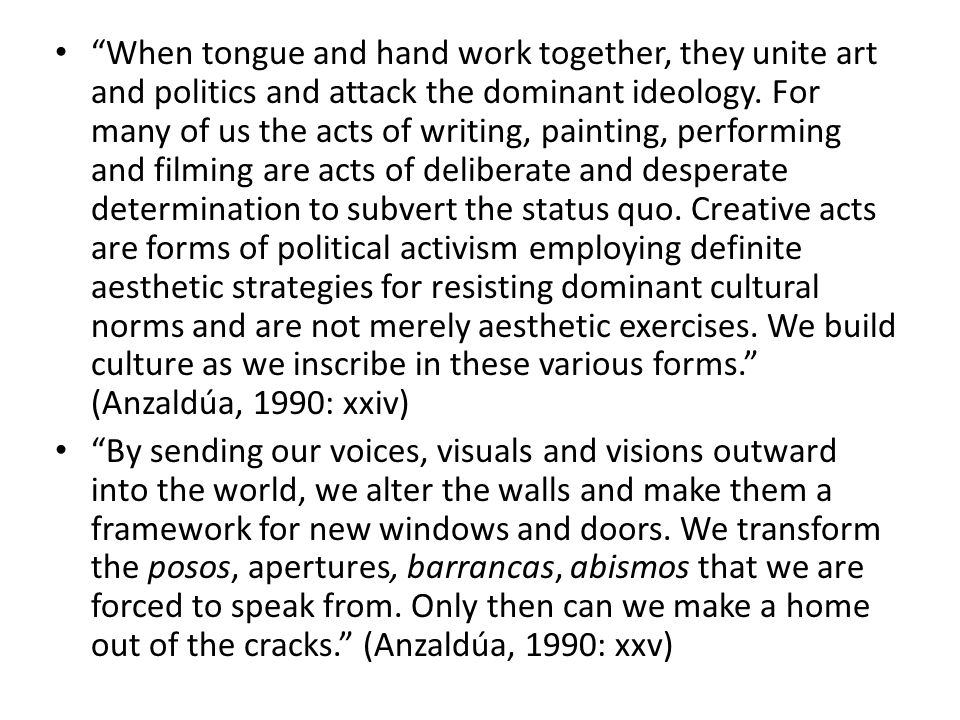 When tongue and hand work together, they unite art and politics and attack the dominant ideology.
