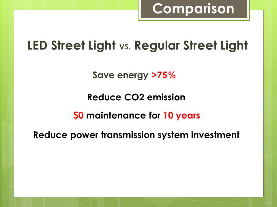 LED street light vs.