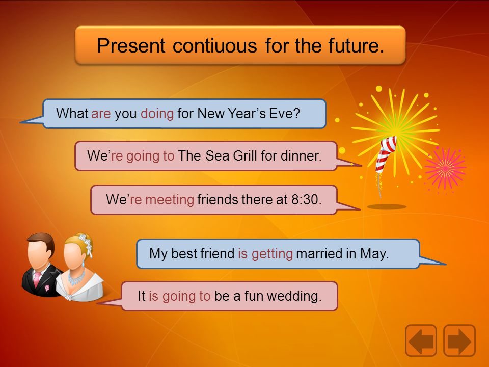 Present contiuous for the future. What are you doing for New Year's Eve.