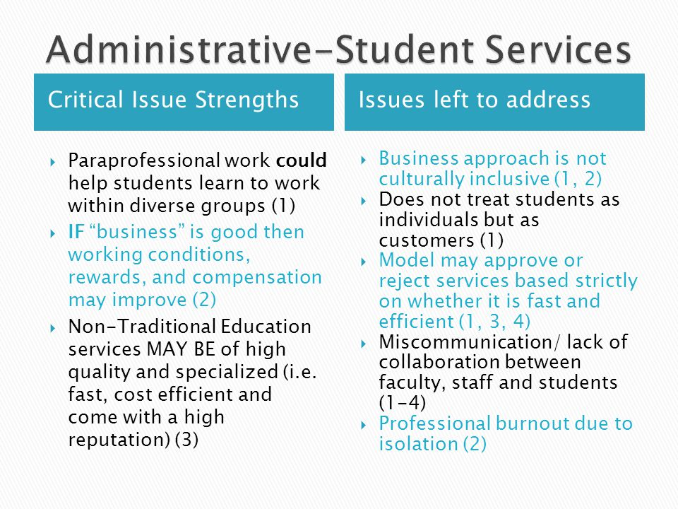 Critical Issue StrengthsIssues left to address  Paraprofessional work could help students learn to work within diverse groups (1)  IF business is good then working conditions, rewards, and compensation may improve (2)  Non-Traditional Education services MAY BE of high quality and specialized (i.e.