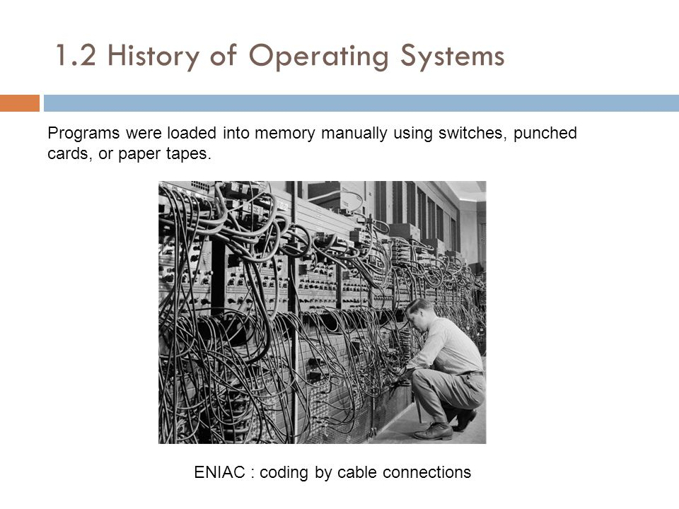 1.2 History of Operating Systems Programs were loaded into memory manually using switches, punched cards, or paper tapes.