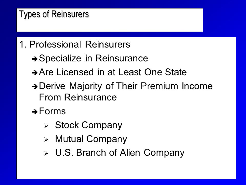 Types of Reinsurers 1.
