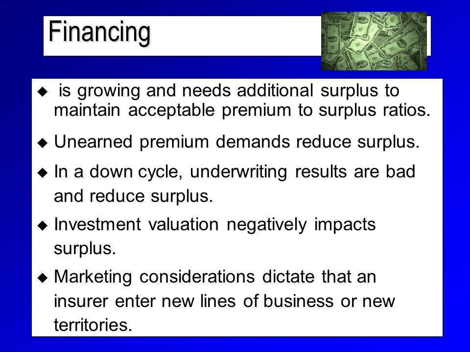 Financing  is growing and needs additional surplus to maintain acceptable premium to surplus ratios.