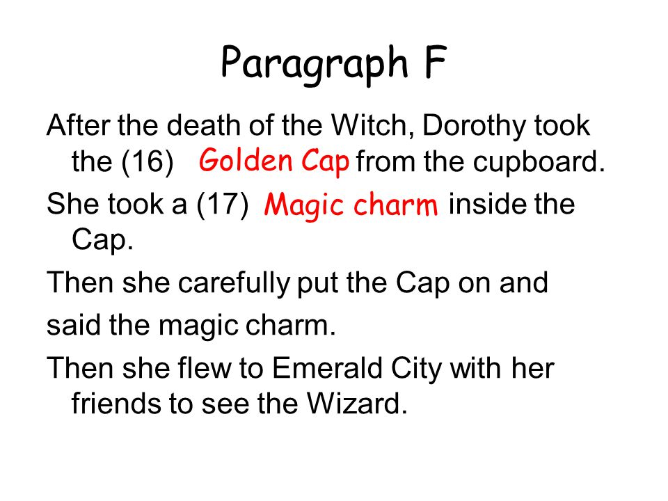 Paragraph F After the death of the Witch, Dorothy took the (16) Golden Cap from the cupboard.