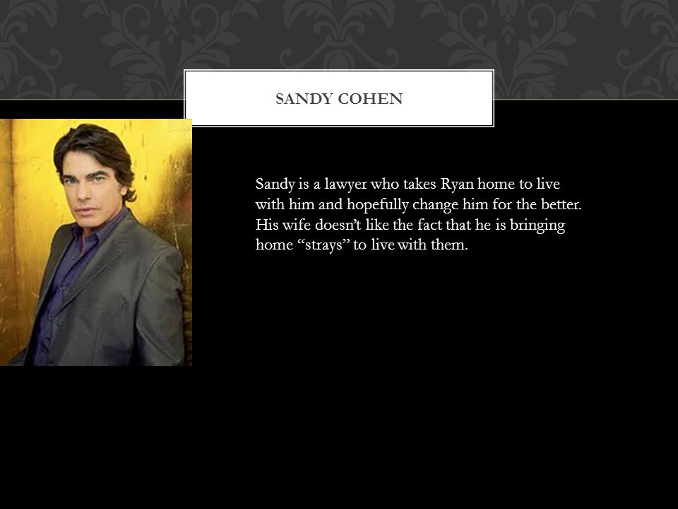 SANDY COHEN Sandy is a lawyer who takes Ryan home to live with him and hopefully change him for the better.