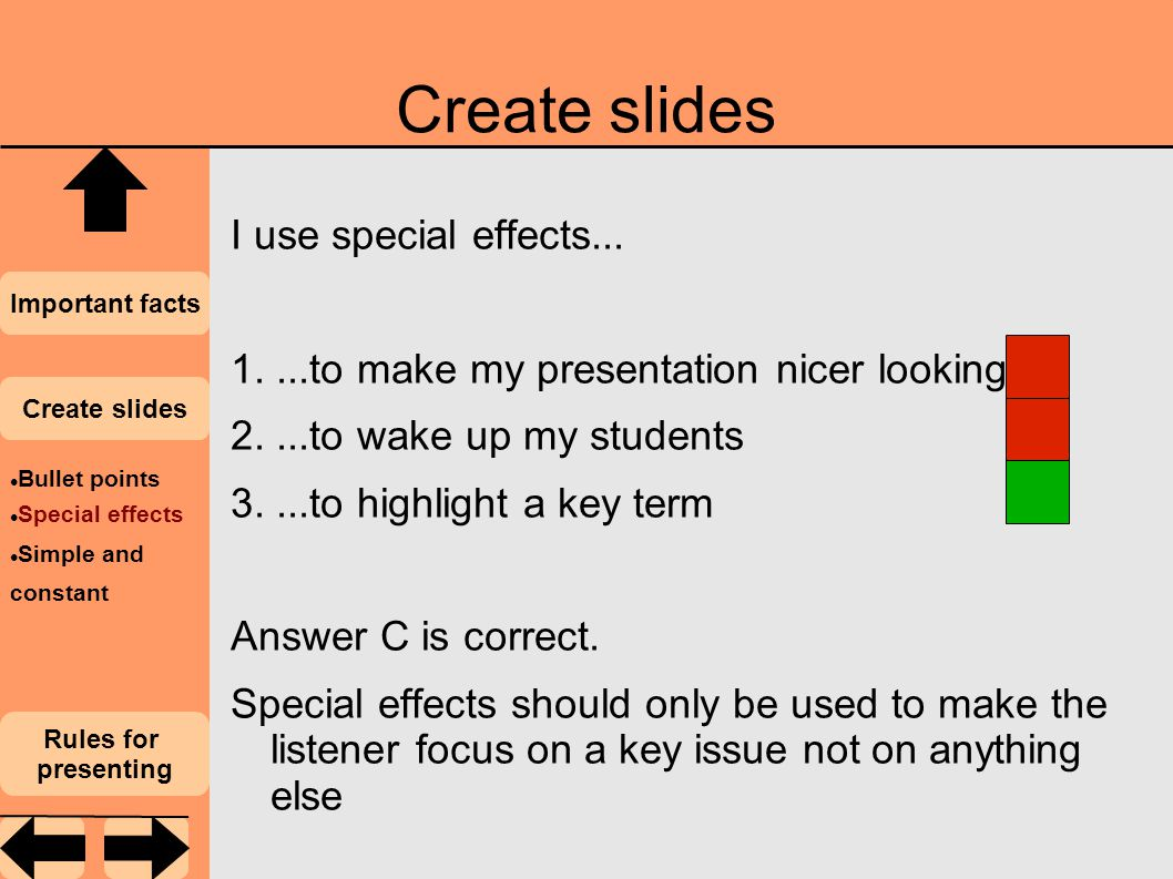 Create slides I use special effects...