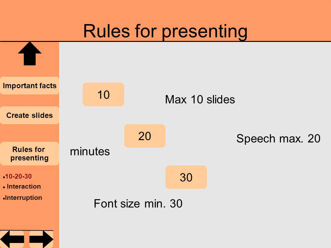 Rules for presenting Important facts Create slides Rules for presenting 10 20 30 Max 10 slides Speech max.