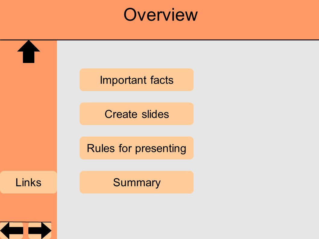 Overview Important facts Summary Rules for presenting Create slides Links