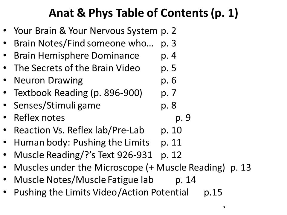Anat & Phys Table of Contents (p. 1) Your Brain & Your Nervous Systemp.