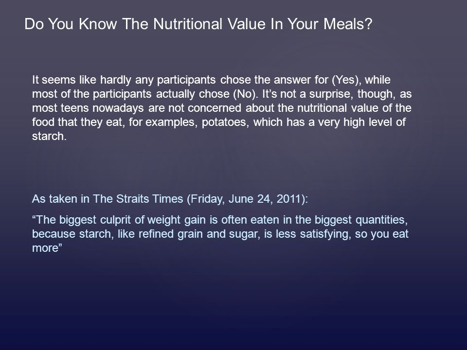 Do You Know The Nutritional Value In Your Meals.