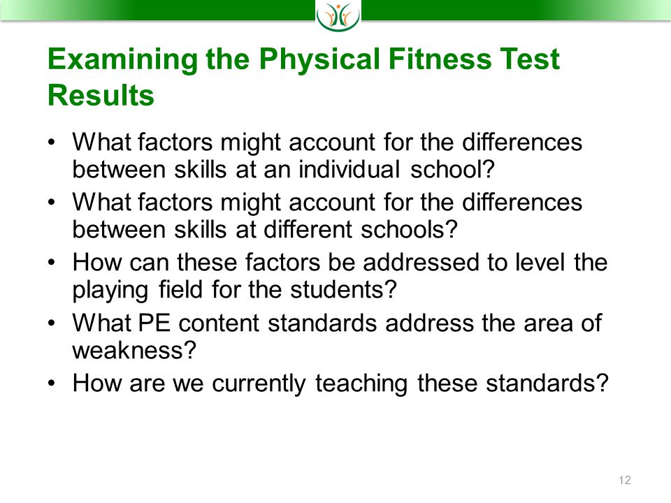 Examining the Physical Fitness Test Results What factors might account for the differences between skills at an individual school.