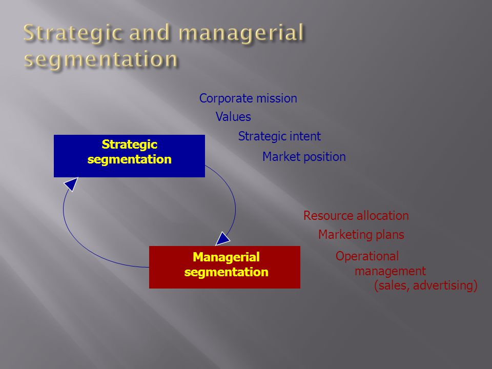 Strategic segmentation Managerial segmentation Corporate mission Values Strategic intent Market position Marketing plans Resource allocation Operational management (sales, advertising)