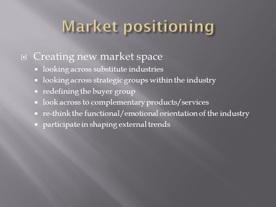  Creating new market space  looking across substitute industries  looking across strategic groups within the industry  redefining the buyer group  look across to complementary products/services  re-think the functional/emotional orientation of the industry  participate in shaping external trends