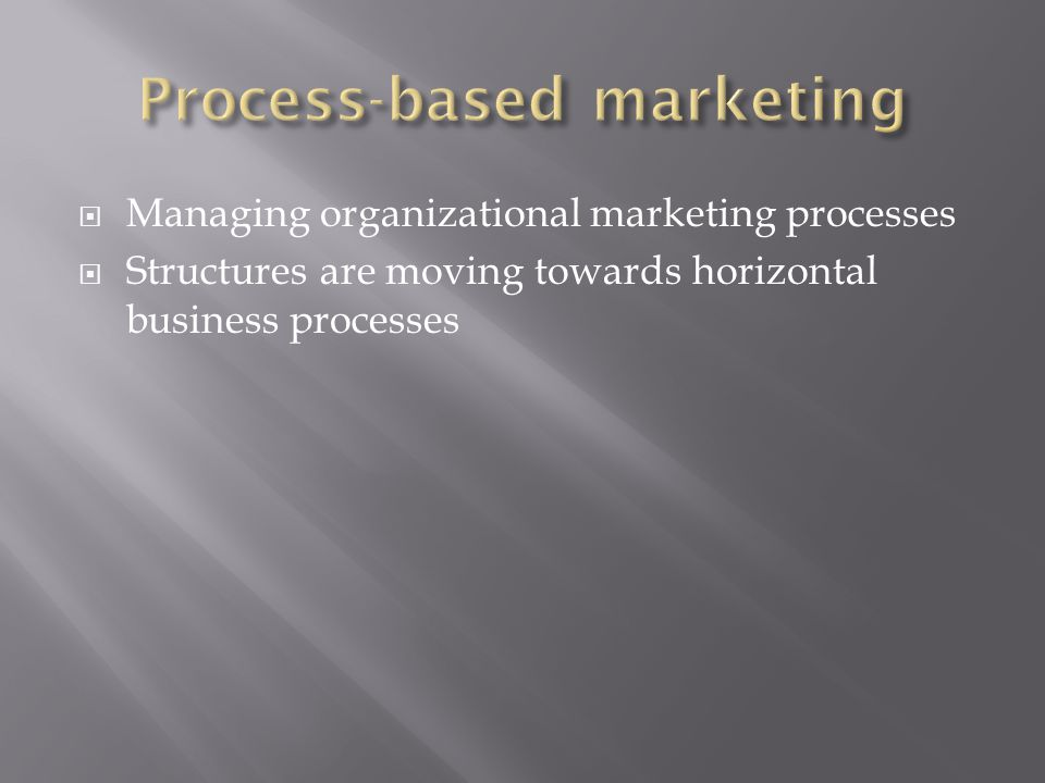  Managing organizational marketing processes  Structures are moving towards horizontal business processes