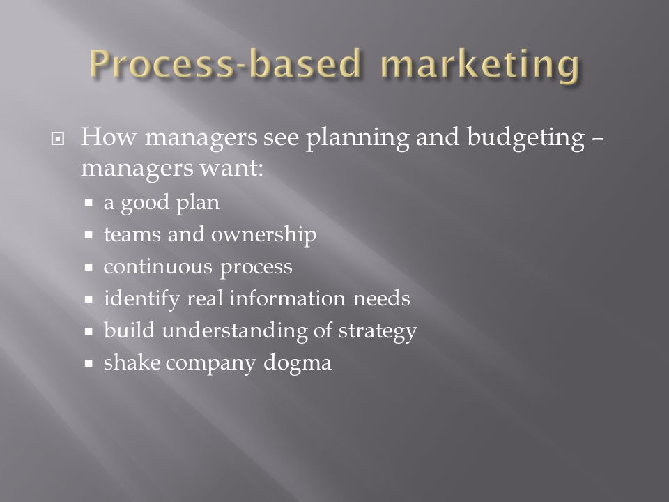  How managers see planning and budgeting – managers want:  a good plan  teams and ownership  continuous process  identify real information needs  build understanding of strategy  shake company dogma