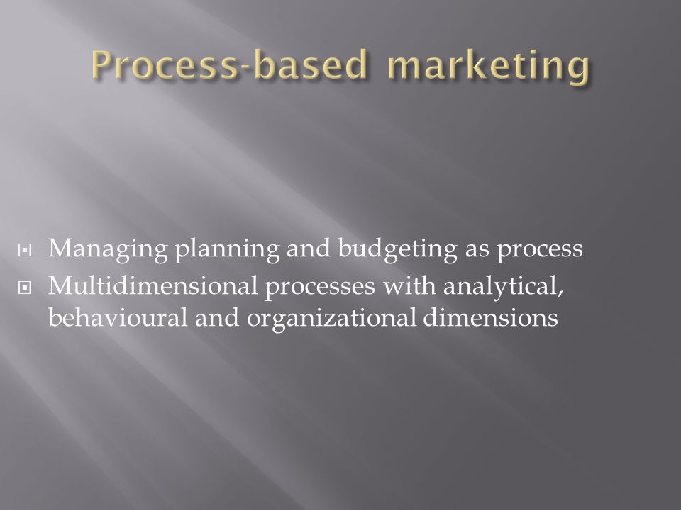  Managing planning and budgeting as process  Multidimensional processes with analytical, behavioural and organizational dimensions