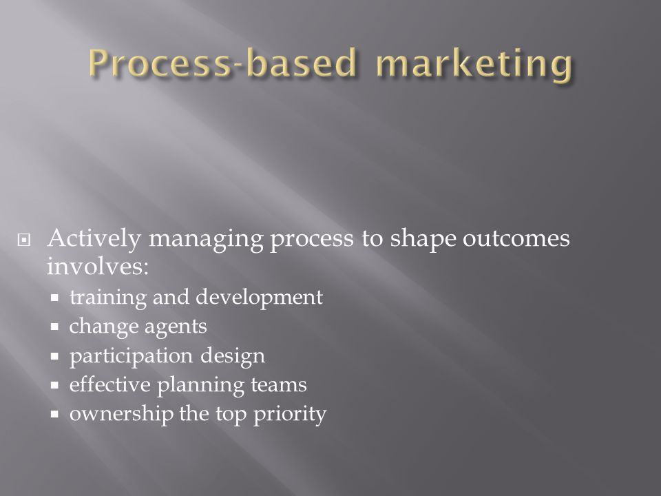  Actively managing process to shape outcomes involves:  training and development  change agents  participation design  effective planning teams  ownership the top priority