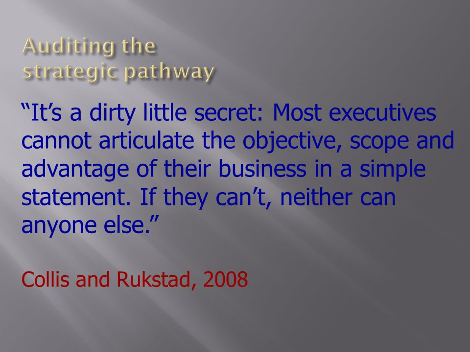 It's a dirty little secret: Most executives cannot articulate the objective, scope and advantage of their business in a simple statement.