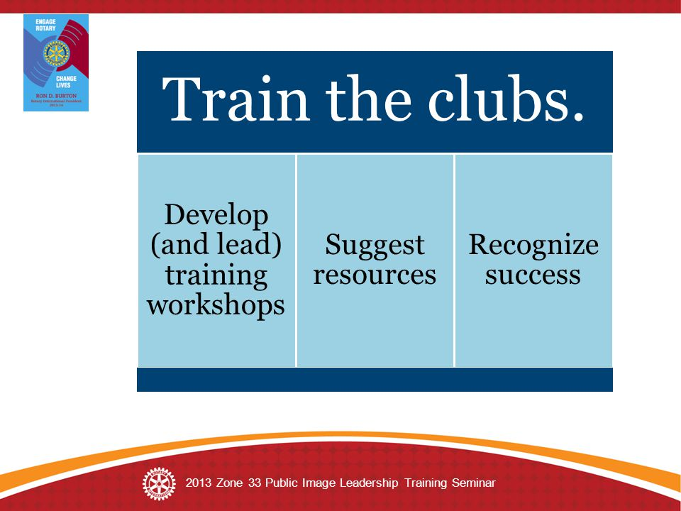 Train the clubs. Develop (and lead) training workshops Suggest resources Recognize success