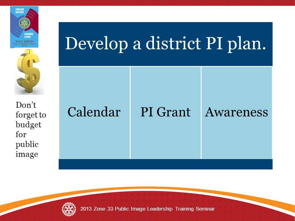Develop a district PI plan. CalendarPI GrantAwareness Don't forget to budget for public image