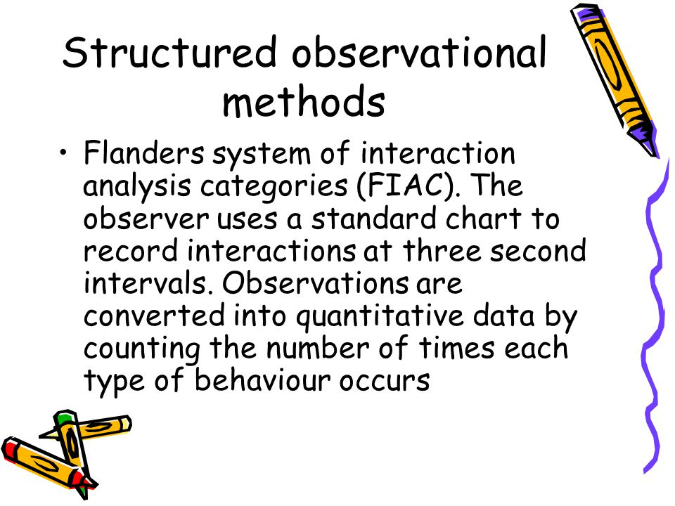 Structured observational methods Flanders system of interaction analysis categories (FIAC).