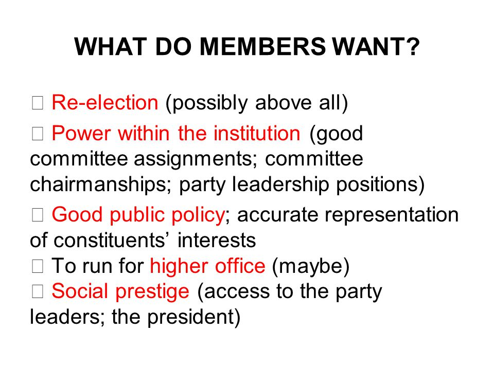 WHAT DO MEMBERS WANT.