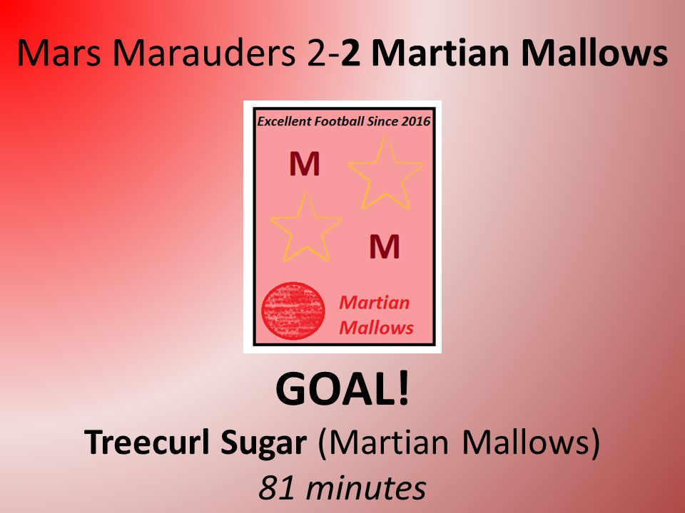Mars Marauders 2-1 Martian Mallows GOAL! Walter Ripple (Martian Mallows) 69 minutes