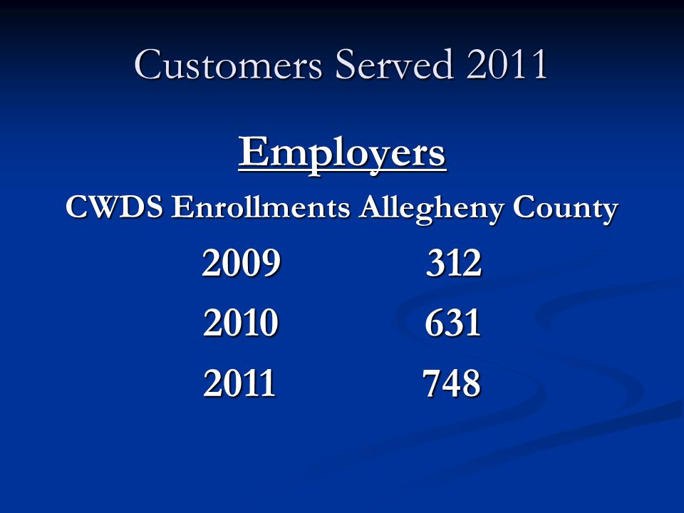 Customers Served 2011 Employers CWDS Enrollments Allegheny County 2009 312 2010 631 2011 748