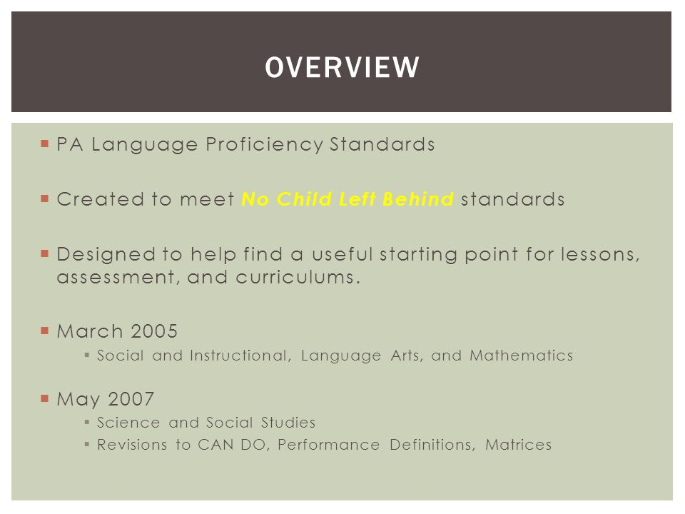  PA Language Proficiency Standards  Created to meet No Child Left Behind standards  Designed to help find a useful starting point for lessons, assessment, and curriculums.