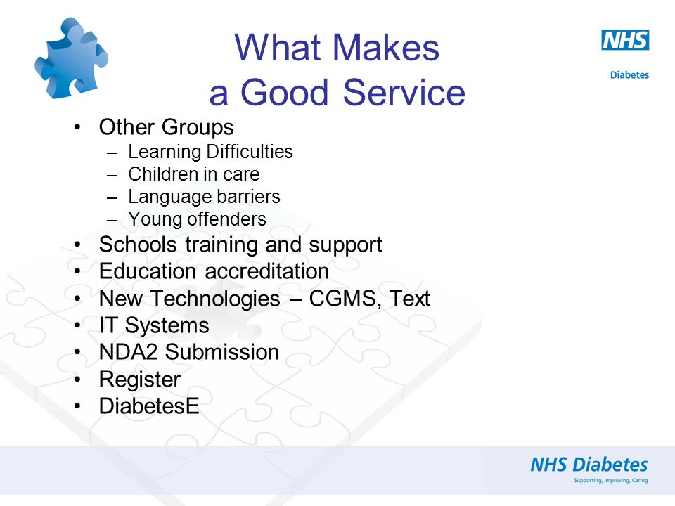 Other Groups –Learning Difficulties –Children in care –Language barriers –Young offenders Schools training and support Education accreditation New Technologies – CGMS, Text IT Systems NDA2 Submission Register DiabetesE What Makes a Good Service