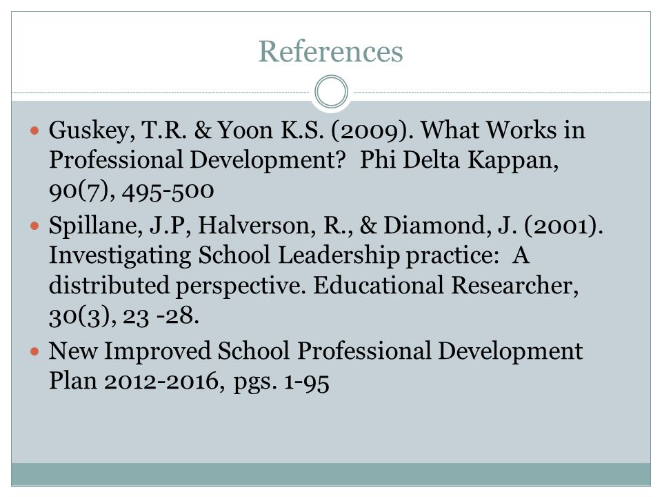 References Guskey, T.R. & Yoon K.S. (2009). What Works in Professional Development.