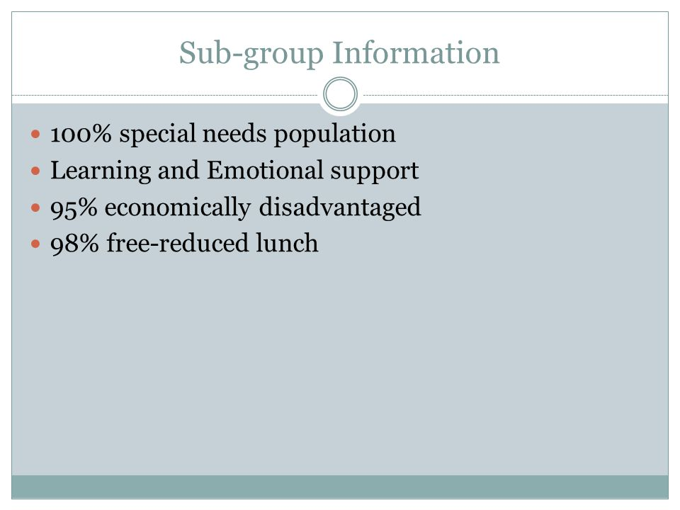 Sub-group Information 100% special needs population Learning and Emotional support 95% economically disadvantaged 98% free-reduced lunch