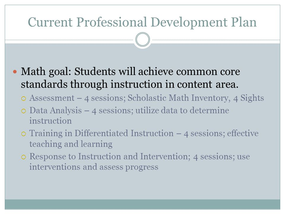 Current Professional Development Plan Math goal: Students will achieve common core standards through instruction in content area.
