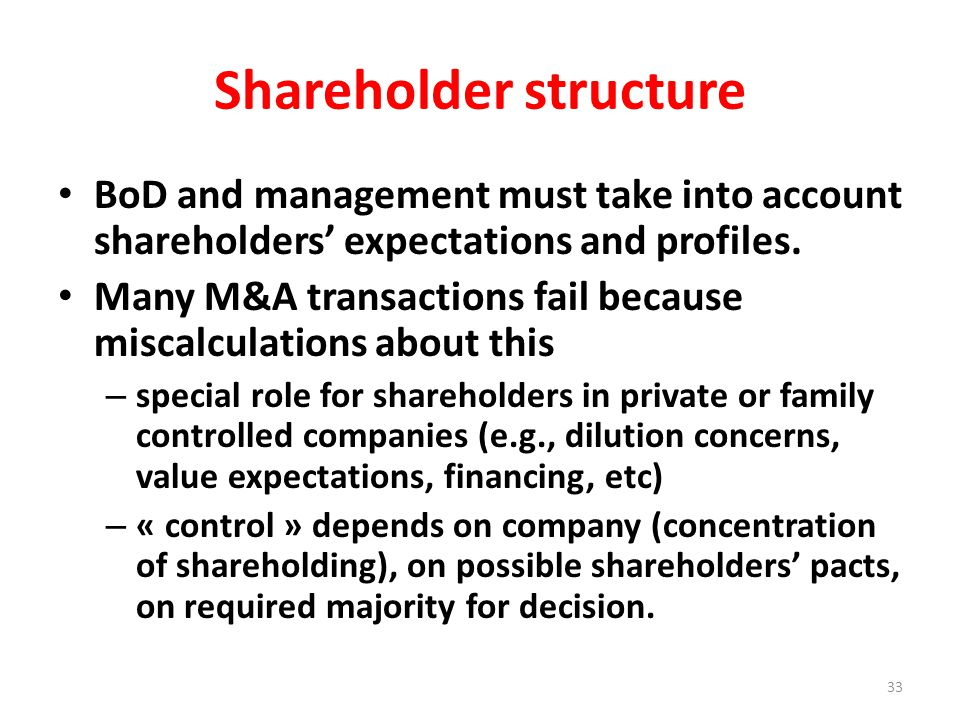 Shareholder structure BoD and management must take into account shareholders' expectations and profiles.