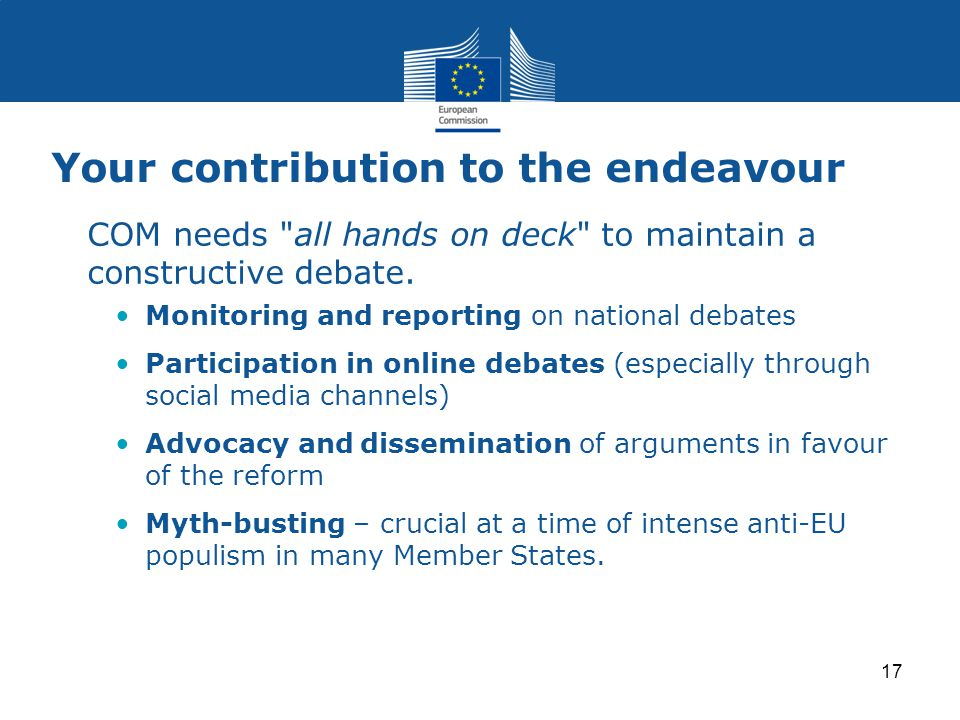 Your contribution to the endeavour COM needs all hands on deck to maintain a constructive debate.