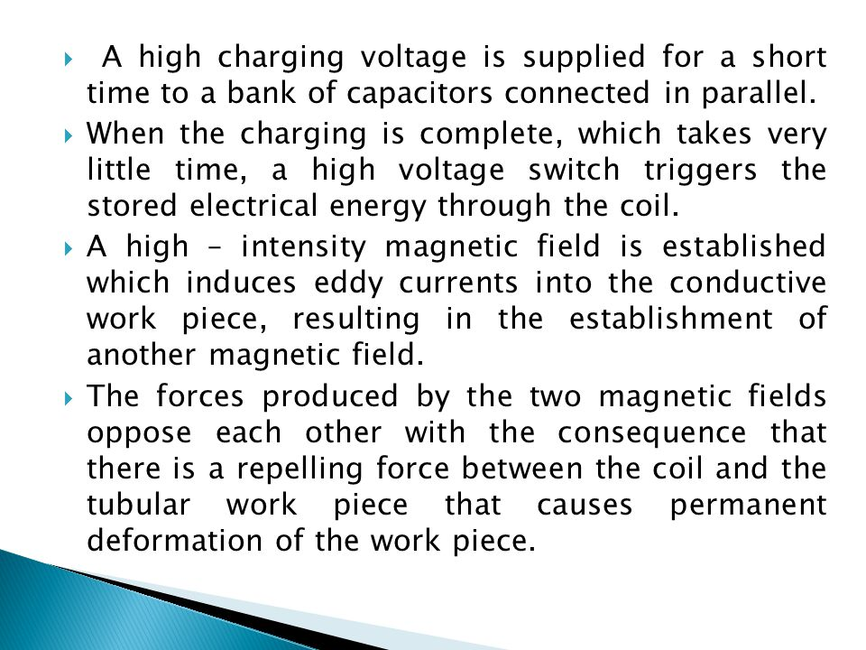  A high charging voltage is supplied for a short time to a bank of capacitors connected in parallel.