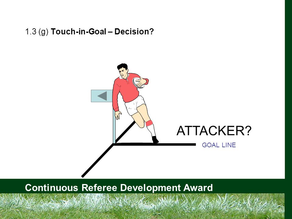 Continuous Referee Development Award 1.3 (g) Touch-in-Goal – Decision ATTACKER GOAL LINE